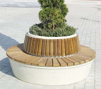 Круглая скамейка из стеклопластика