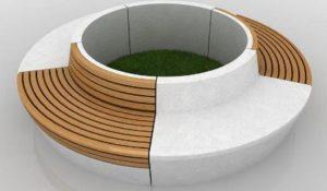 Круглая скамейка из стеклопластика - цветная 3D модель